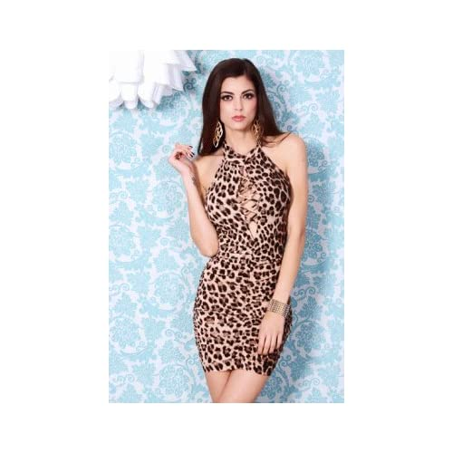 BROWN LEOPARD PRINT MOCK NECK LACE UP RUCHED SEXY MINI DRESS at Amazon