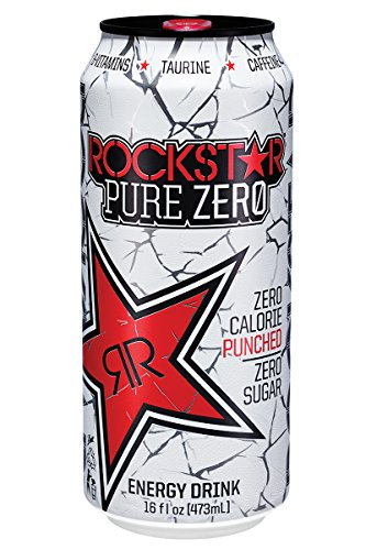 Rockstar Energy Drink Pure Zero Energy Drink, Punched, 16 Fluid Ounce (Pack of 24) (Energy Drinks Rockstar compare prices)