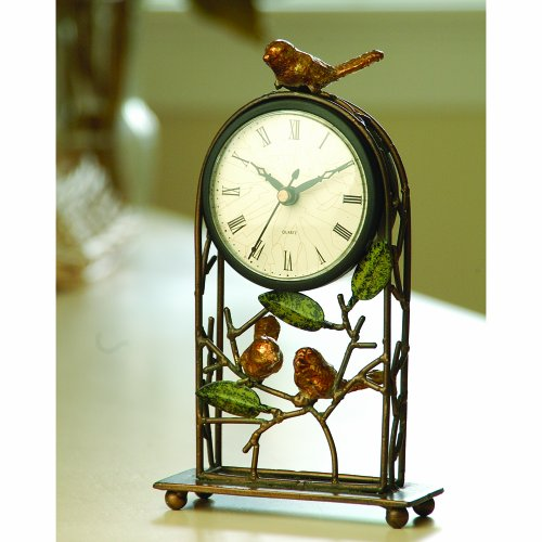 Gilded Birds on a Branch Table or Mantle Clock