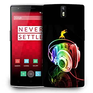 Snoogg Colorful Headset Designer Protective Back Case Cover For ONEPLUS ONE