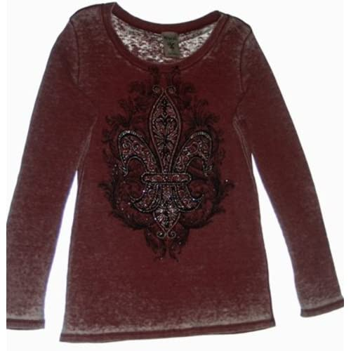 Womans Vocal Long Sleeve Heather Red Plus Size Bling Fleur