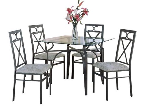 Cheap Square Glass Top Table w/ 4 Chairs (12775SQUAREDINETTE)
