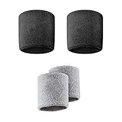 Verceys Grey And Black Sports All Weather And Washable Stuff Wrist Bands - Pack of 4