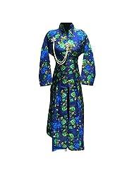 Blue Silk Multicolor Print Work Silk Designer Party Wear Kurti Semi Stitched