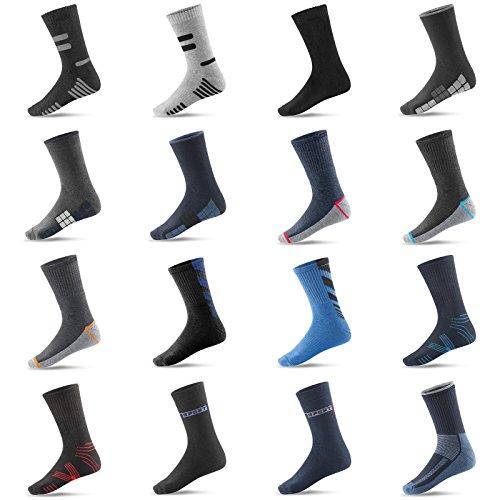 3 / 6 / 9 / 12 / 24 Paar Socken Thermosocken Warme Winter Sport Ski Arbeitssocken Herren (43-46, 9 Paar Mehrfarbig)