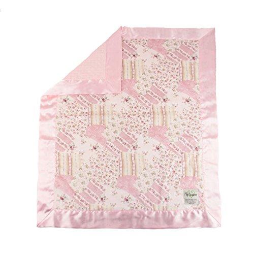 """My Blankee Suzy Q Minky w/ Minky Dot Pink Baby Blanket, 30"""" x 35"""""""