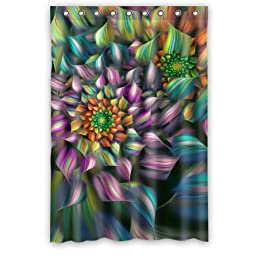 Abstract Flower Colorful Petals- Personalize Custom Bathroom Shower Curtain Waterproof Polyester Fabric 48(w)x72(h) Rings Included