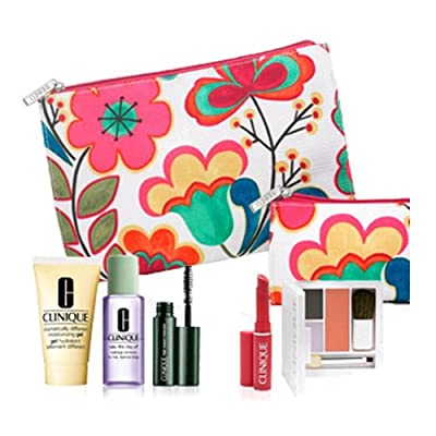 Brand New Clinique 2012 Fall 7 Pcs Gift Set: Dramatically Different Moisturizing Gel, Colour Surge Eye Shadow Duo with Soft-pressed Powder Blusher, High Impact Mascara, Take the Day Off Makeup Remover, Almost Lipstick in Fliity Honey and Two Floral Cosmet
