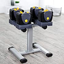 Performance Fitness Systems TB560 5 to 60-Pound Adjustable Dumbbells with Stand