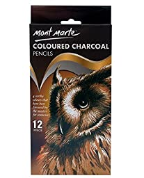 Mont Marte Coloured Charcoal Pencils 12pce Sketching and Drawing Essential