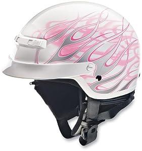 Z1R Nomad DOT Half Motorcycle Helmet Hellfire White/Pink Flames XL