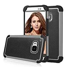 buy Htc One M9 Case, Shuyo(Tm) [Tmajor Series] M9 Case Shock Absorbing Hybrid Impact Defender Slim Cover Shell Plastic Outer + Rubber Silicone Inner [Black/Grey]