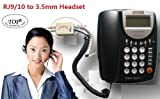 TOP® Telephone to Headset Adapter - Dual 3.5mm to RJ9 Headset Spliter Organize Conference Call System (Not for RJ11) 6~10 Days Delivery