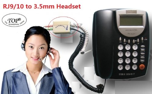 Top® Telephone To Headset Adapter - Dual 3.5Mm To Rj9 Headset Spliter, Organize Conference Call System (Not For Rj11) 6~10 Days Delivery