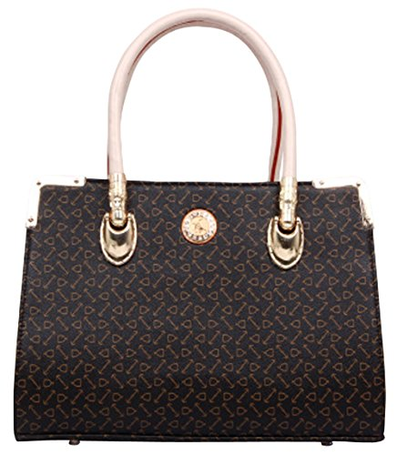 Hkpj Women'S Plain Mini Leather Print Handle Tote Square Satchel Bag Dark Brown