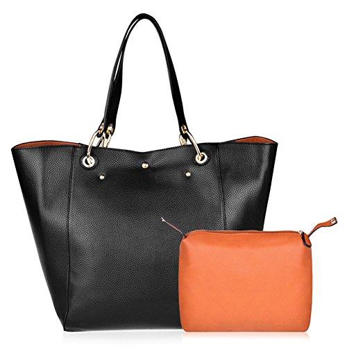Vbiger borsa Tote Bag in pelle donne semplici 2 in 1 (nero) (Nero 1)