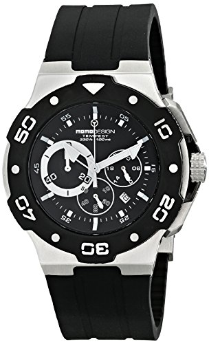 MomoDesign Tempest Men's 46mm Chronograph Black Silicone Watch MD1004-02BKWT-R