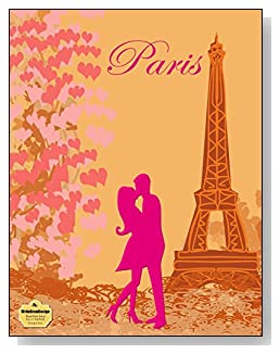 Kissing In Paris Notebook - For the pink Paris-loving romantic! A couple kissing at the Eiffel Tower is the focal point of the cover of this blank and wide ruled notebook with blank pages on the left and lined pages on the right.
