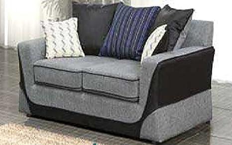 Grau/Schwarz 2-Sitzer-Sofa