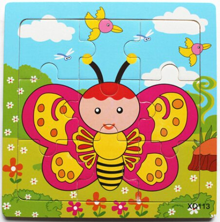 XQ113 9-piece Wooden Colorful Jigsaw Animal Puzzle, Butterfly