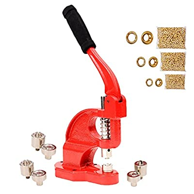 Tenive Heavy Duty Eyelet Maker Grommet Machine Hand Press Hole Punch Tool with 3 Dies (#0 #2 #4) and 900 Grommets - Red