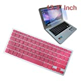 Premium Pink Soft Silicone Keyboard Skin Cover + 13.3 inch Clear screen Protector for Apple Macbook/Air 13.3 inch Laptop