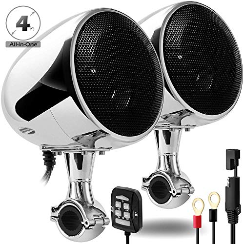 """GoHawk AN4 Gen.2 All-in-One Built-in Amplifier 4"""" Full Range Waterproof Bluetooth Motorcycle Stereo Speakers Audio Amp System w/AUX for 7/8 to 1-1/4 Bar Harley ATV RZR UTV Quad 4 Wheeler"""