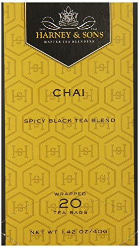 Harney & Sons Chai, Spicy Black Tea Blend, 20 Count Tea Bags