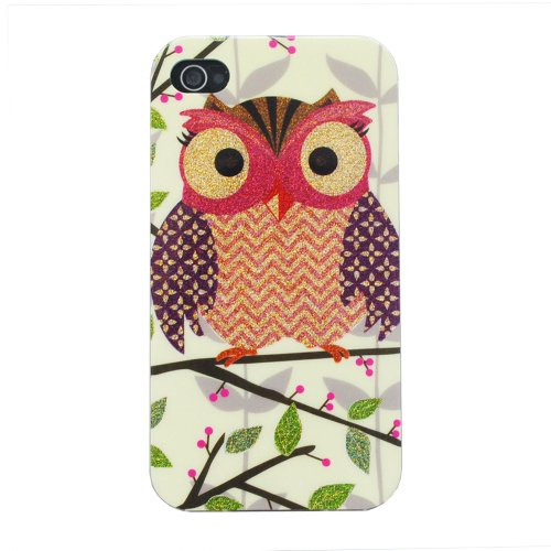 Meaci® Iphone 4 4S Unique Night Owl Series Smooth Wear-Resisting&Bright Pattern Pc Case 1X Free Anti-Dust Plug Stopper-Random Color(Ii)
