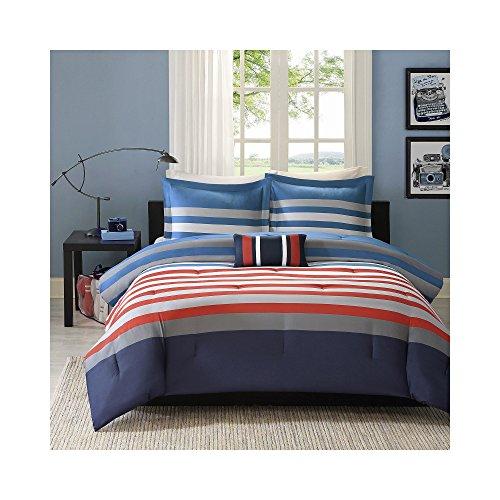 Mizone Kyle 4 Piece Comforter Set, Red/Blue, Full/Queen
