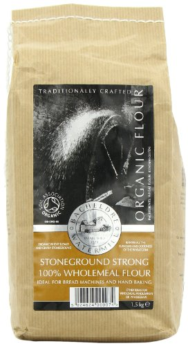 Bacheldre Watermill Organic Stoneground Strong 100% Wholemeal Flour 1.5 kg (Pack of 4)