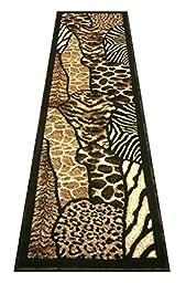 Animal Print Runner Rug 2 Ft. X 7 Ft. Black Skinz 70