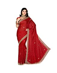 Sri Krishna Silks' Maroon Embroidered Saree - B00NUVP2FO