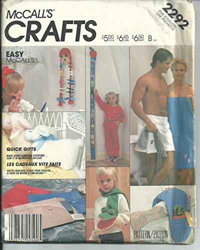 Mccall'S 2292. Quick Gifts. Toy Lamb; Barrett Holder; Portfolio; Sewing Caddy; Growth Chart; Alligator Puppet Scarf; Bath Wraps' front-919852