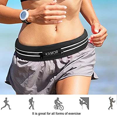(2 Pack) Kamor Running Belts / Exercise Runner Belt / Waist Packs for Apple iPhone 6, 6 plus, 5, 5s, 5c, Samsung Galaxy - for Men, Women during Workouts, Cycling, Hiking, Walking, Running, Fitness