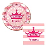 [ Party Kit for 16 ] Birthday or Baby Shower etc - Plates, Napkins & Cutlery Set : Bonus - Light Up Timer Toothbrush & Reusable Cotton Wipe (Princess :Tiara)