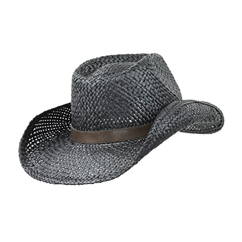 Black Cattleman Straw Cowboy Hat w/ Vegan Leather Gold Trim, Drifter Style