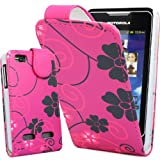 Top Accessories for Smart Phones PINK AND GREY FLOWERS ON PiNK PU LEATHER WITH MAGNETIC FLIP CASE COVER POUCH FOR MOTOROLA MOTOSMART / MOTOLUXE / XT389 / XT390