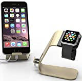 Apple Watch Stand : Stalion® Desktop Charging Dock Station for Apple Watch Sport Edition (24-Month Warranty)(Powder Gold) Aluminum Body Universal Cradle Holder for Apple iWatch 38mm / 42mm Watch Sport Watch Edition