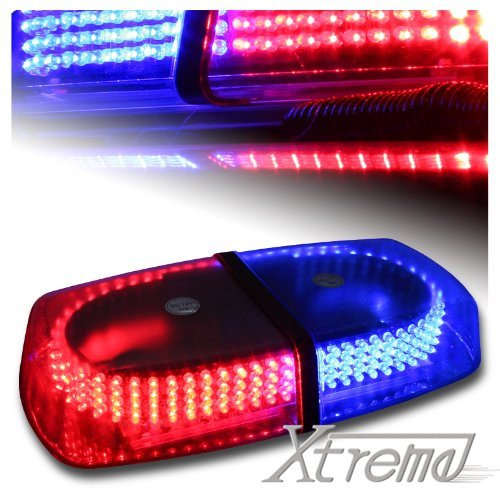 Xtreme® Blue & Red 240 Led Law Enforcement Emergency Hazard Warning Led Mini Bar Strobe Light With Magnetic Base