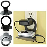 Cell Phone Charger Holder Foldable Mobile Stand Travel Gadget Wall Mount Black