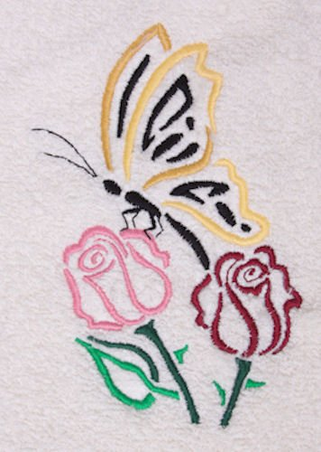 Bath Towel Set With Embroidered Butterfly & Roses Outline front-63914