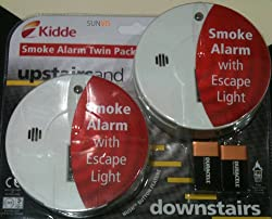 Kidde Smoke Alarm with Escape Light Twin Pack Upstairs / Downstairs from Kidde
