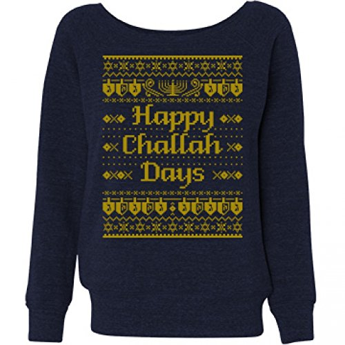 Hanukkah Ugly Sweater: Ladies Bella Wideneck Sweatshirt M Navy Triblend