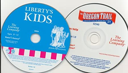 Lot 2 CD Oregon Trail 5th edition, Liberty Kids 5 th Pc Xp Vista Mac TLC The Learning Company