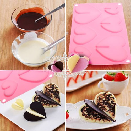 Vktech Love Hearts Chocolate Mold Silicon Muffin Jelly Candy Baking Bakeware Mould