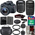 Canon Rebel SL1 DSLR Camera Body with Canon 18-55mm IS STM Standard Lens 33rd Street Exclusive Bundle with Canon 75-300mm III Zoom Lens + 16GB Class 10 SD Memory Card + SD Memory Reader + Deluxe Camera Carrying Case + Commander Starter Kit + Commander 2pc