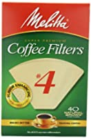 Melitta Cone Coffee Filters, Natural Brown, No. 4, 40-Count Filters (Pack of 12) by Melitta
