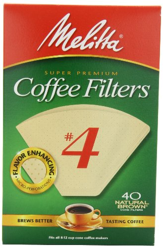 Melitta Cone Coffee Filters, Natural Brown, No. 4, 40-Count Filters (Pack of 12)