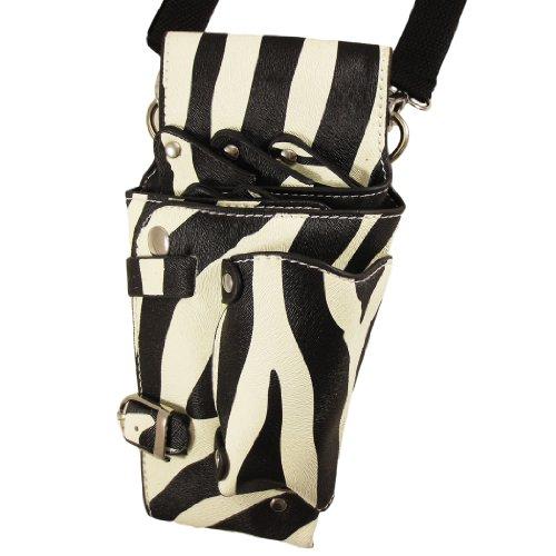 MONOZY シザーケース 5丁 ゼブラ スタッズ プロ 美容師 カラビナ付き シザー ケース バッグ 高品質 ハサミ入れ scizeb